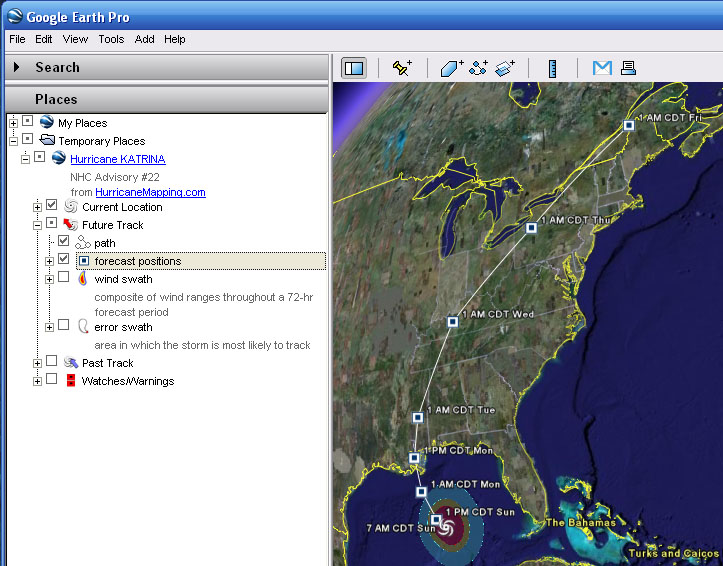 HurricaneMapping KML File Description