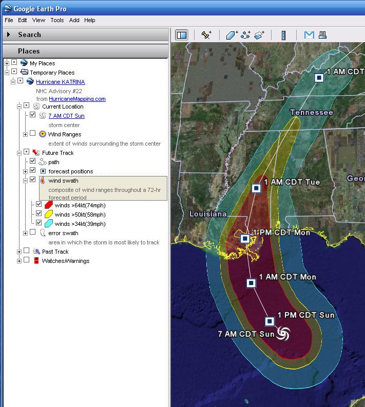 HurricaneMapping KML File Description